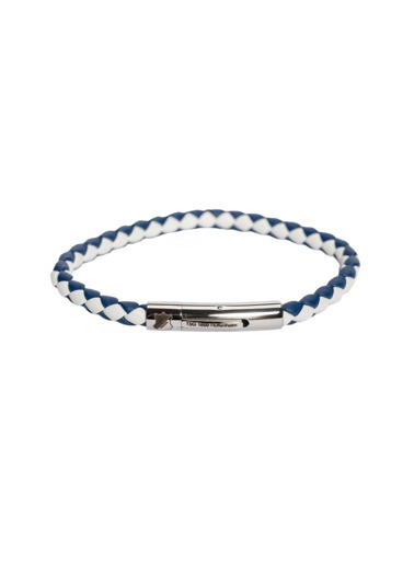TSG Leather bracelet blue/white 19